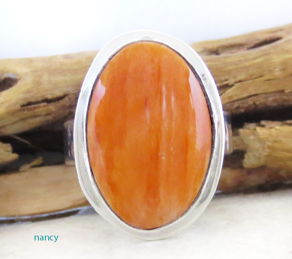 Native American Orange Spiny Oyster & Sterling Silver Ring Size 7 - 2628sn