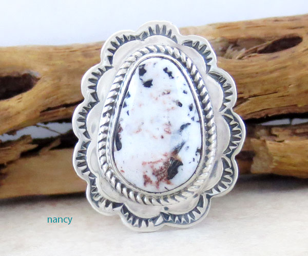 Native American White Buffalo Stone & Sterling Silver Ring Size 8 - 2525sn
