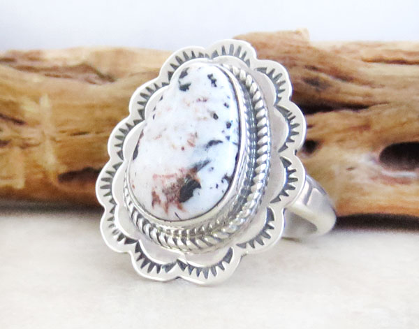 Image 3 of   Navajo Jewelry White Buffalo Stone & Sterling Silver Ring Sz 8 - 2525sn
