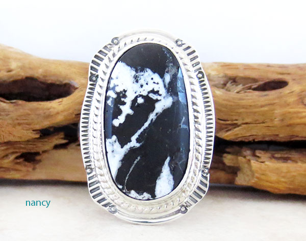 White Buffalo Stone & Sterling Silver Ring Sz 8 Native American Jewelry- 4642sn