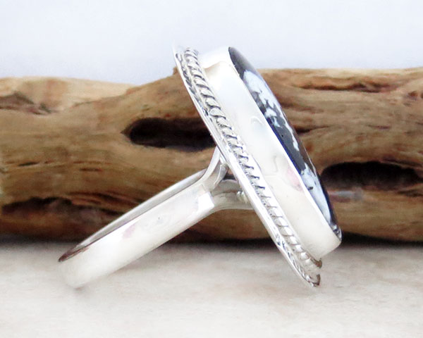 Image 2 of  White Buffalo Stone & Sterling Silver Ring Sz 8 Native American Jewelry- 4642sn