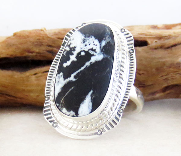 Image 3 of  White Buffalo Stone & Sterling Silver Ring Sz 8 Native American Jewelry- 4642sn
