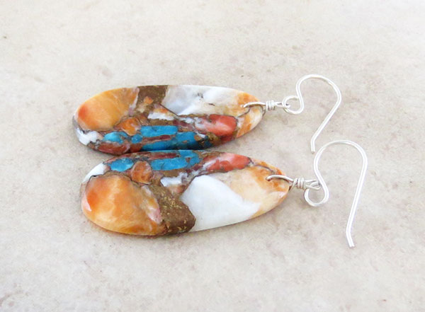 Image 1 of Mosaic Turquoise & Spiny Oyster Slab Earrings Santo Domingo Jewelry- 2631pl