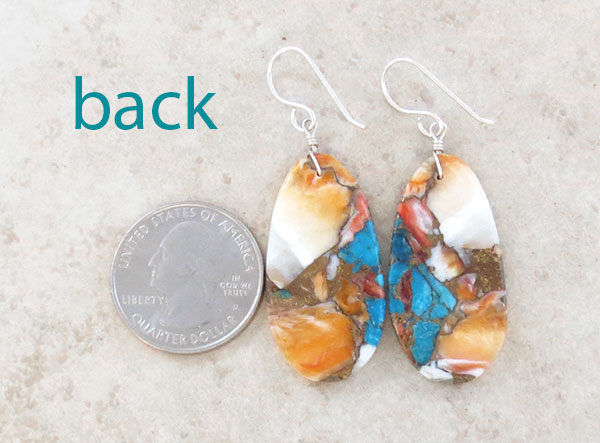Image 2 of Mosaic Turquoise & Spiny Oyster Slab Earrings Santo Domingo Jewelry- 2631pl