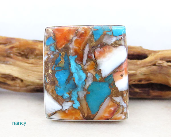 Mosaic Turquoise & Spiny Oyster Slab Ring Size 8 Navajo made - 2632pl