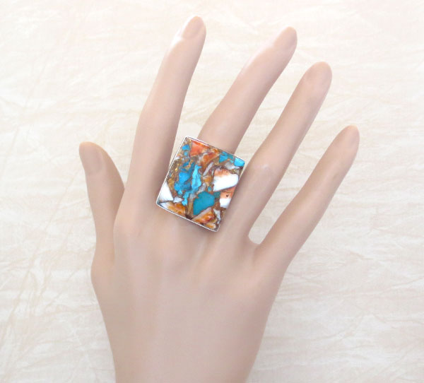 Image 1 of    Mosaic Turquoise & Spiny Oyster Slab Ring Size 8 Navajo Jewelry - 2632pl