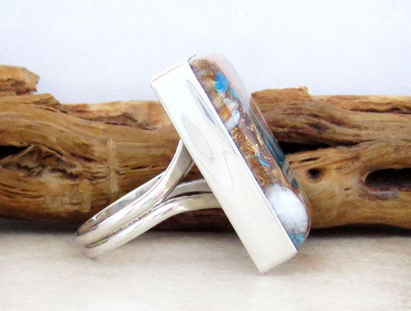 Image 2 of    Mosaic Turquoise & Spiny Oyster Slab Ring Size 8 Navajo Jewelry - 2632pl