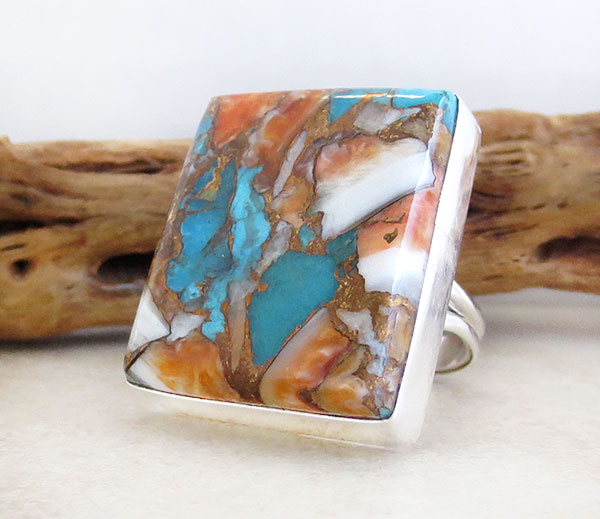 Image 3 of    Mosaic Turquoise & Spiny Oyster Slab Ring Size 8 Navajo Jewelry - 2632pl