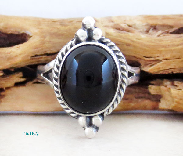Black Onyx & Sterling Silver Ring Size 7 Native American Jewelry - 2629sn
