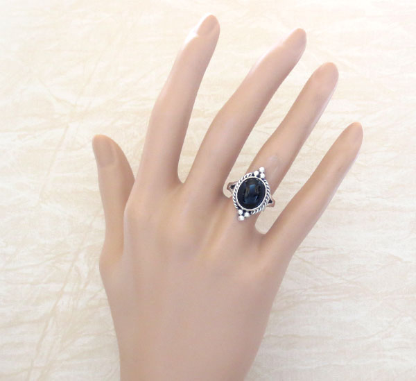 Image 1 of Black Onyx & Sterling Silver Ring Size 7 Native American Jewelry - 2629sn