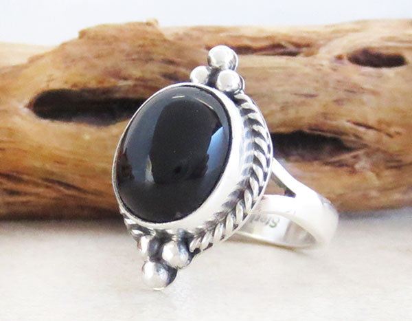 Image 3 of Black Onyx & Sterling Silver Ring Size 7 Native American Jewelry - 2629sn