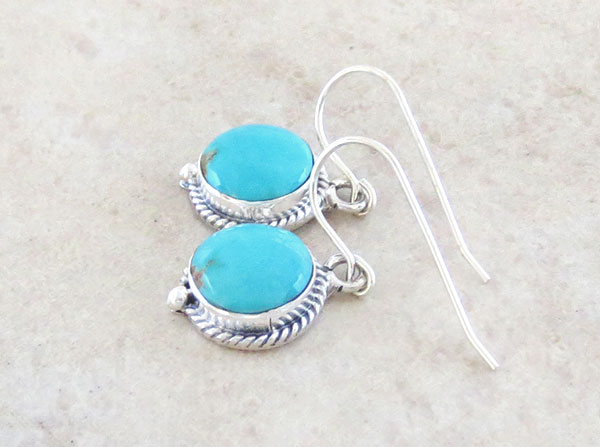 Image 1 of   Small Turquoise & Sterling Silver Earrings Native American Jewelry - 2630sn