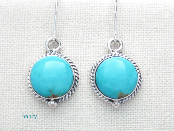 Small Turquoise & Sterling Silver Earrings Native American - 2630sn
