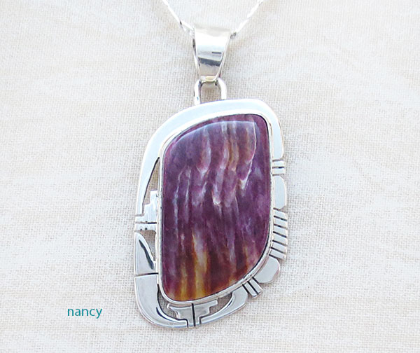 Image 0 of    Purple Spiny Oyster & Sterling Silver Pendant Native American - 2635sn