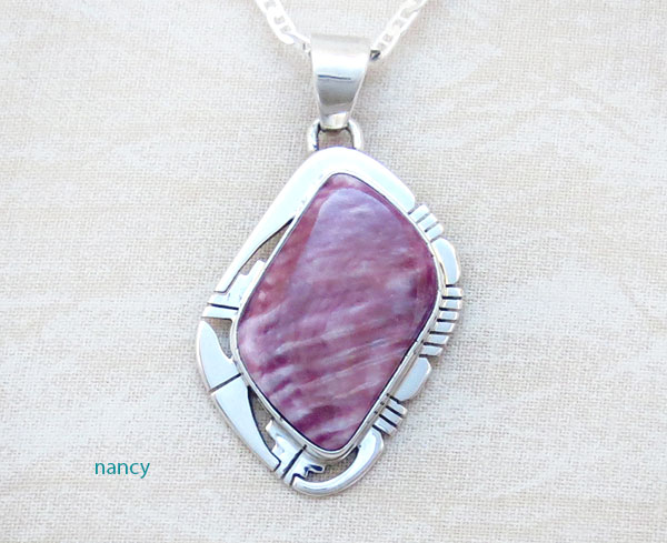 Purple Spiny Oyster & Sterling Silver Pendant Native American - 1658sn