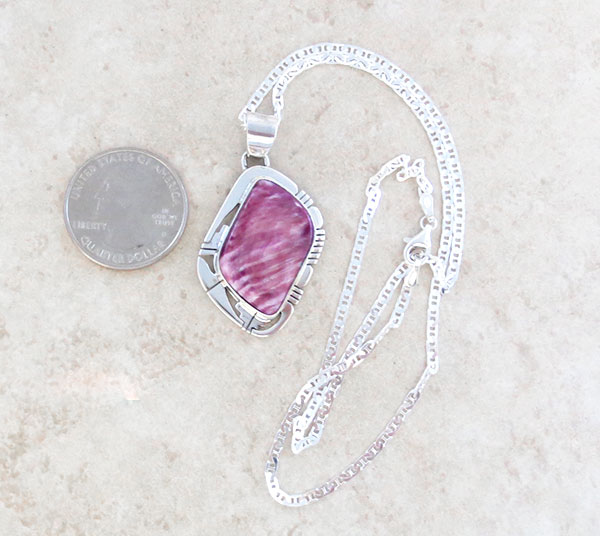 Image 1 of      Purple Spiny Oyster & Sterling Silver Pendant Native American - 1658sn