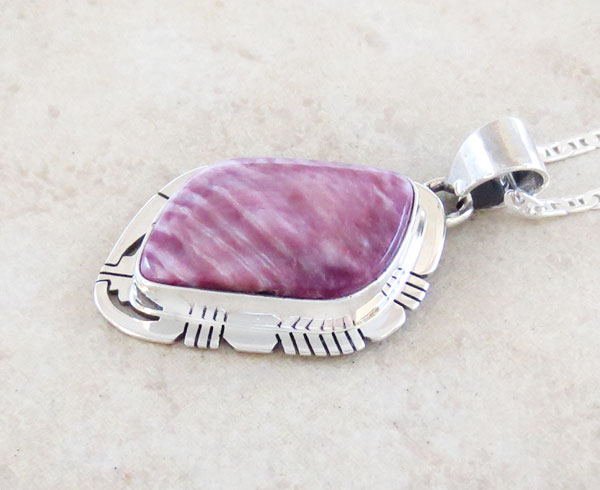 Image 2 of      Purple Spiny Oyster & Sterling Silver Pendant Native American - 1658sn
