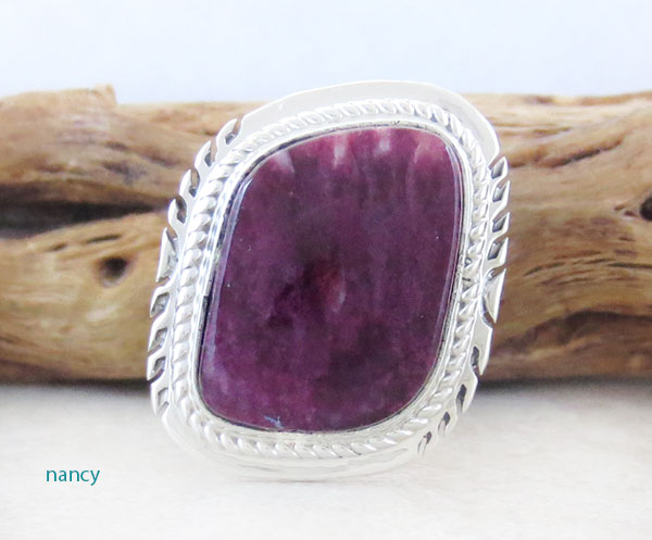 Navajo Made Purple Spiny Oyster & Sterling Silver Ring Size 7 - 2637sn