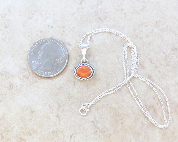 Image 1 of Little Orange Spiny Oyster & Sterling Silver Pendant Navajo - 1647sn