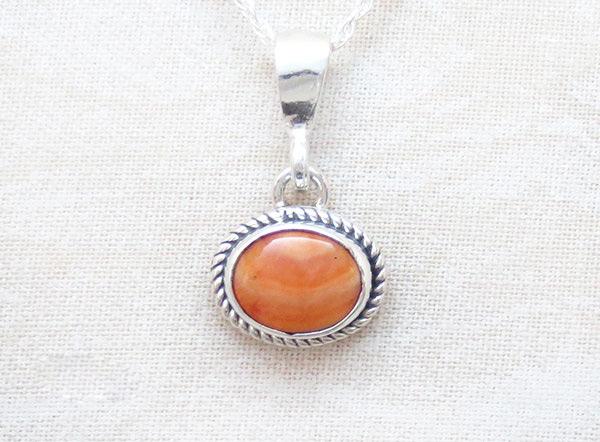 Little Orange Spiny Oyster & Sterling Silver Pendant Navajo - 1647sn