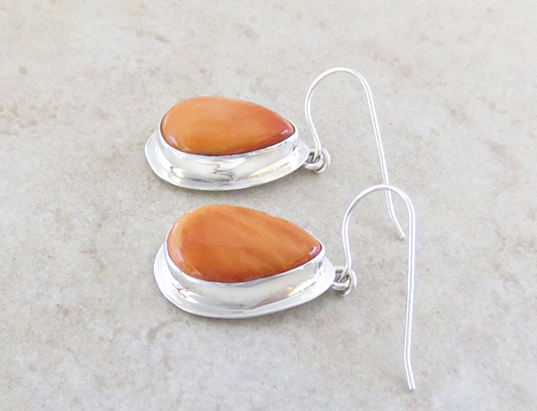 Image 1 of     Orange Spiny Oyster & Sterling Silver Earrings Native American Made - 1640sn