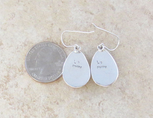 Image 2 of     Orange Spiny Oyster & Sterling Silver Earrings Native American Made - 1640sn