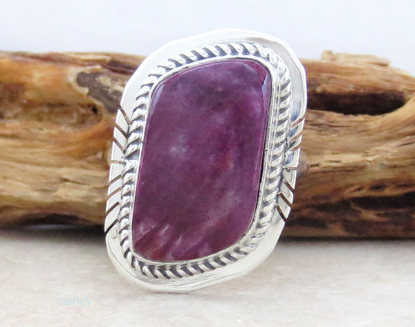 Spiny Oyster & Sterling Silver Ring Size 7 Native American Jewelry - 1648sn