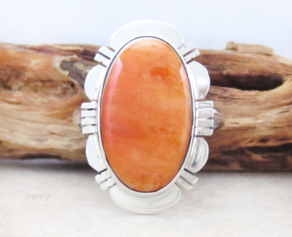 Image 0 of Native American Jewelry Spiny Oyster & Sterling Silver Ring Size 9 - 1629sn