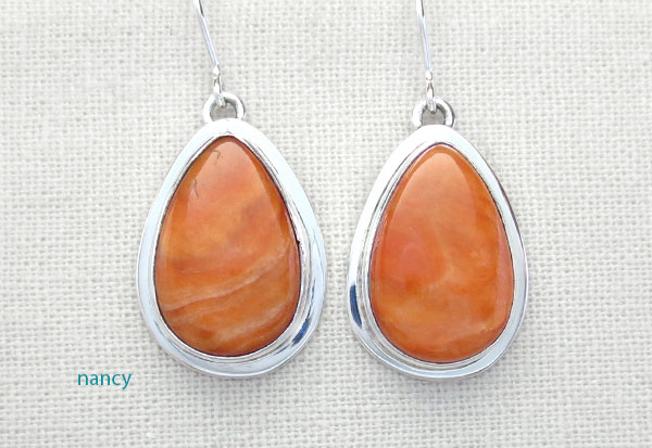 Image 0 of Orange Spiny Oyster & Sterling Silver Earrings Native American Made - 1618sn