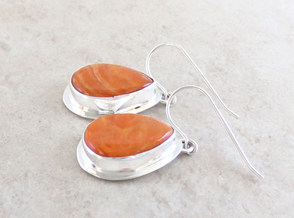 Image 1 of Orange Spiny Oyster & Sterling Silver Earrings Native American Made - 1618sn