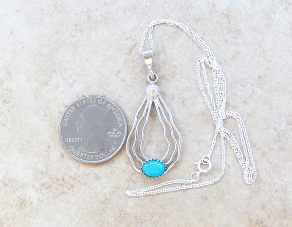 Image 1 of      Sterling Silver Wire & Turquoise Pendant W/ Chain Navajo Jewelry - 1670sn