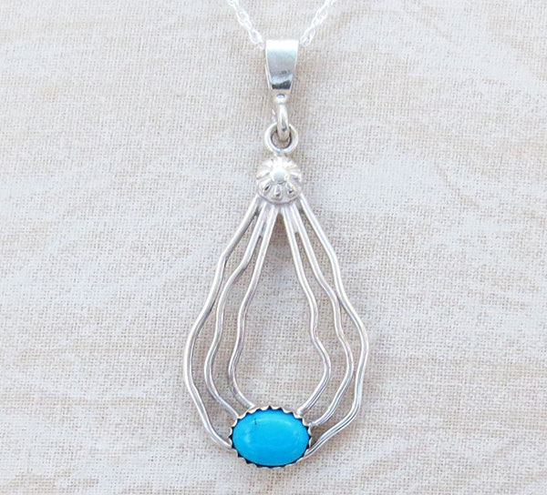 Sterling Silver Wire & Turquoise Pendant W/ Chain Navajo Jewelry - 1670sn