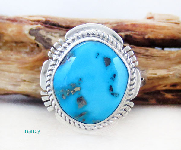 Native American Jewelry Turquoise & Sterling Silver Ring Sz  8 - 1412sn