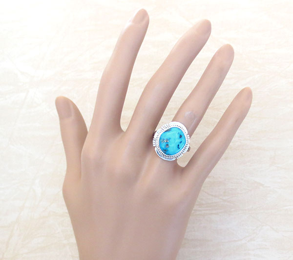 Image 1 of       Native American Jewelry Turquoise & Sterling Silver Ring Sz  8 - 1412sn