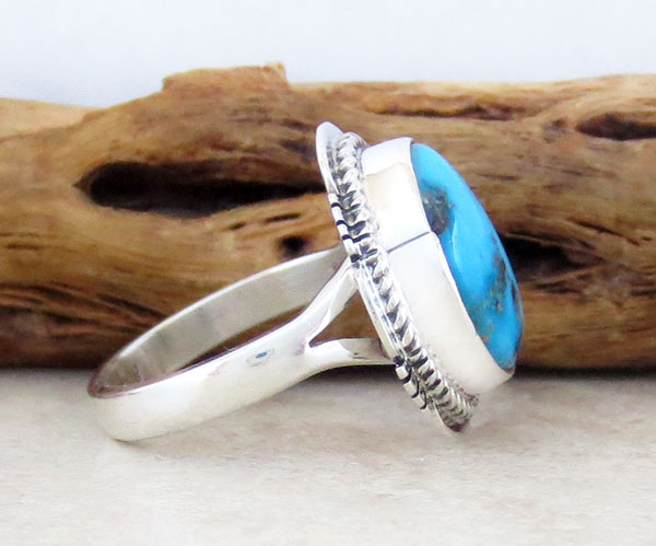 Image 2 of       Native American Jewelry Turquoise & Sterling Silver Ring Sz  8 - 1412sn