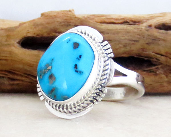 Image 3 of       Native American Jewelry Turquoise & Sterling Silver Ring Sz  8 - 1412sn