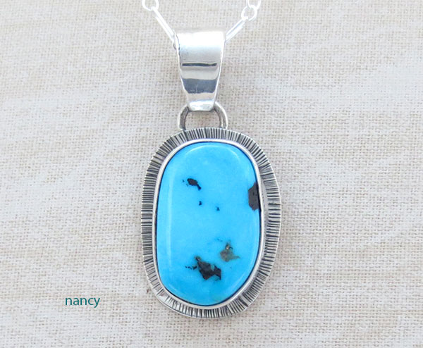 Image 0 of      Small Sleeping Beauty Turquoise & Sterling Silver Pendant Navajo- 1465sn