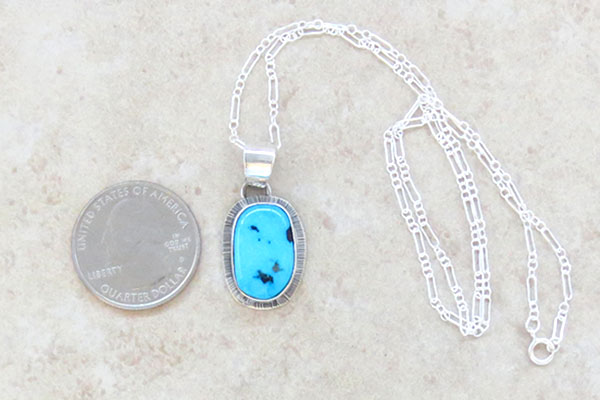 Image 1 of      Small Sleeping Beauty Turquoise & Sterling Silver Pendant Navajo- 1465sn