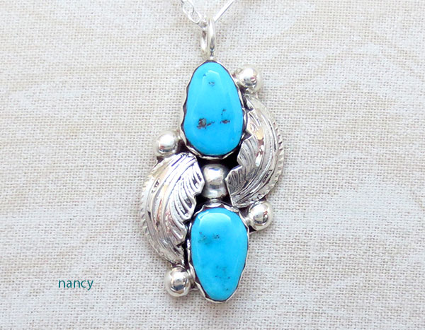 Image 0 of     Sleeping Beauty Turquoise & Sterling Silver Pendant Navajo - 1469sn