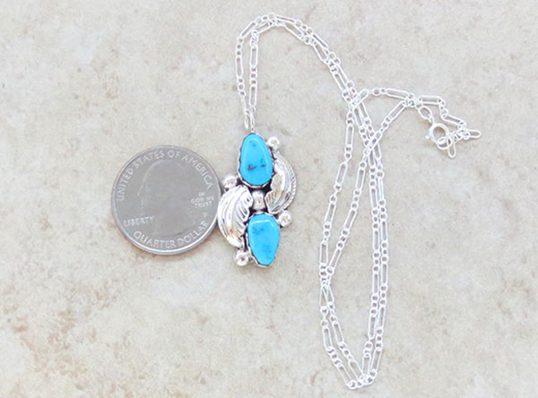 Image 1 of     Sleeping Beauty Turquoise & Sterling Silver Pendant Navajo - 1469sn