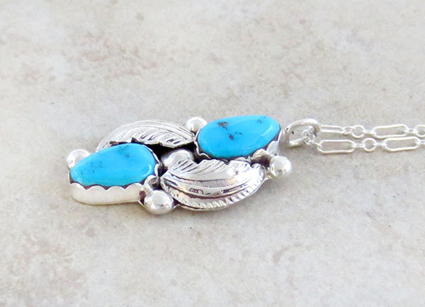 Image 2 of     Sleeping Beauty Turquoise & Sterling Silver Pendant Navajo - 1469sn