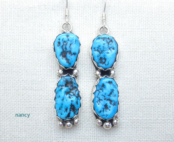 Image 0 of     Sterling Silver & Sleeping Beauty Turquoise Nugget Earrings Navajo - 1470sn