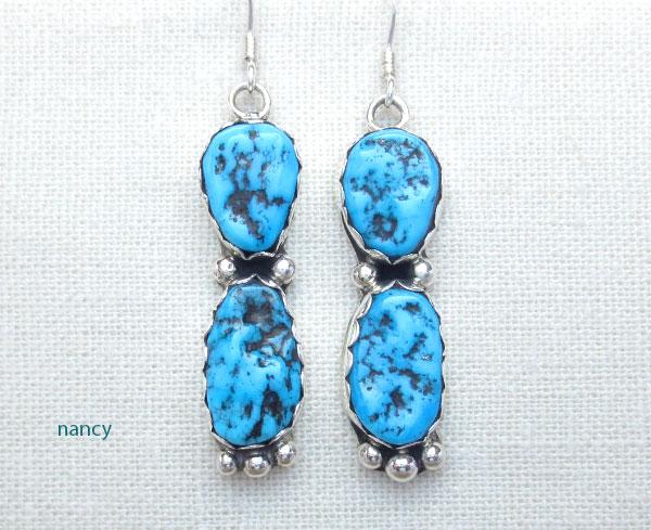 Sterling Silver & Sleeping Beauty Turquoise Nugget Earrings Navajo - 1470sn