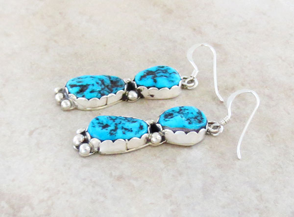 Image 1 of     Sterling Silver & Sleeping Beauty Turquoise Nugget Earrings Navajo - 1470sn