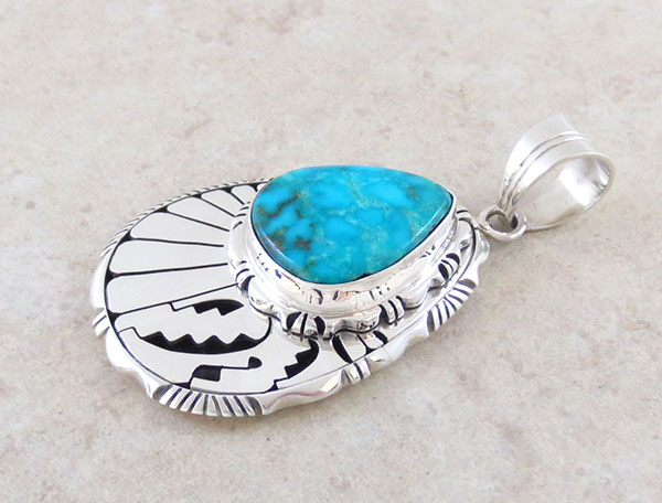 Image 2 of Kingman Turquoise & Sterling Silver Pendant Native American Made - 1583at