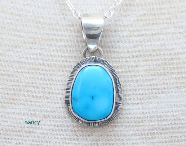Image 0 of    Little Sleeping Beauty Turquoise & Sterling Silver Pendant Navajo - 1548sn