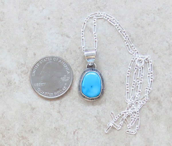 Image 1 of    Little Sleeping Beauty Turquoise & Sterling Silver Pendant Navajo - 1548sn