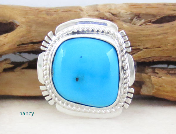 Image 0 of Navajo Sleeping Beauty Turquoise & Sterling Silver Ring Size 7 - 1542sn