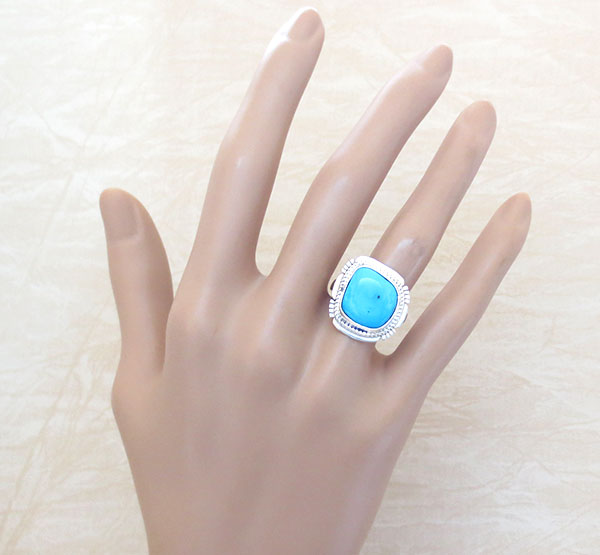Image 1 of Navajo Sleeping Beauty Turquoise & Sterling Silver Ring Size 7 - 1542sn