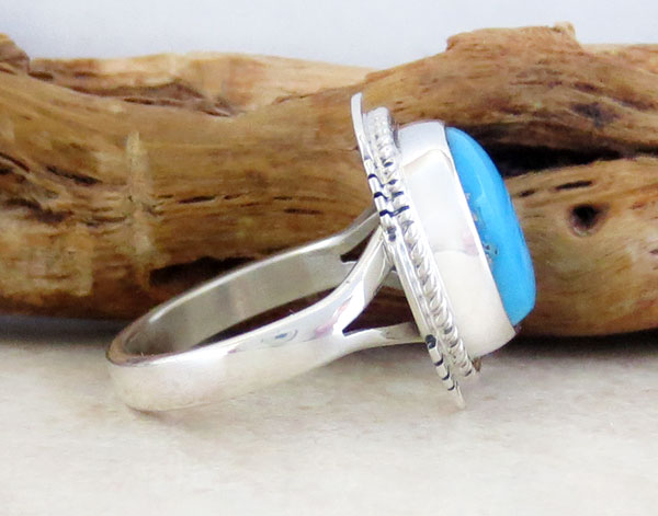 Image 2 of Navajo Sleeping Beauty Turquoise & Sterling Silver Ring Size 7 - 1542sn